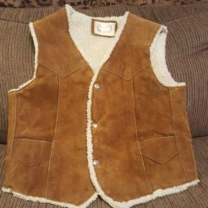 Vintage steer brand leather vest